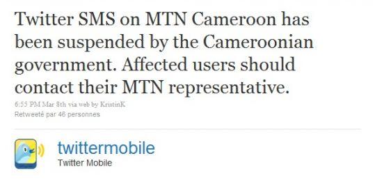 Le Cameroun interdit Twitter Mobile !