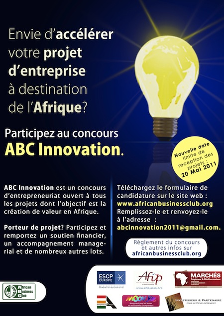 Concours ABC Innovation 2011 pour l'entrepreunariat africain