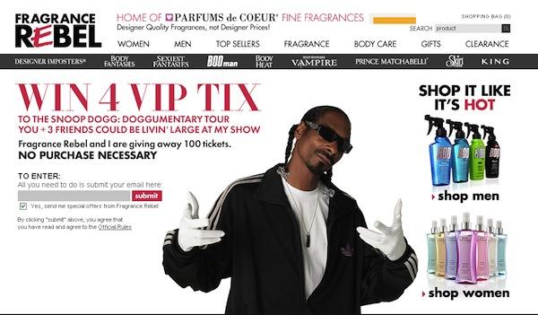 Snoop Dogg vend son parfum sur Facebook. Et le prix baisse en fonction du nombre de « like » !