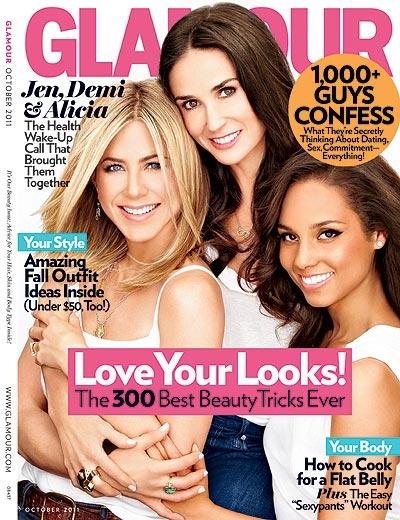 Alicia Keys, Jennifer Aniston et Demi Moore en couverture de Glamour pour la bonne cause