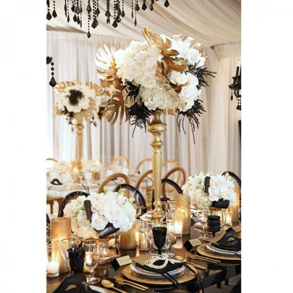 d coration mariage couleur or et blanc id es et d. Black Bedroom Furniture Sets. Home Design Ideas