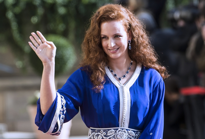 Princess Lalla Salma of Morocco waves as she leaves the Notre-Dame cathedral of Luxembourg after the religious marriage of Crown Prince Guillaume of Luxembourg and Belgian countess Stephanie de Lannoy, on October 20, 2012, in Luxembourg. Crowned heads of Europe and ordinary citizens gathered for Luxembourg's biggest royal event in decades to see heir-to-the-throne Prince Guillaume wed Belgian countess Stephanie de Lannoy. AFP PHOTO/BELGA/NICOLAS LAMBERT -BELGIUM OUT-